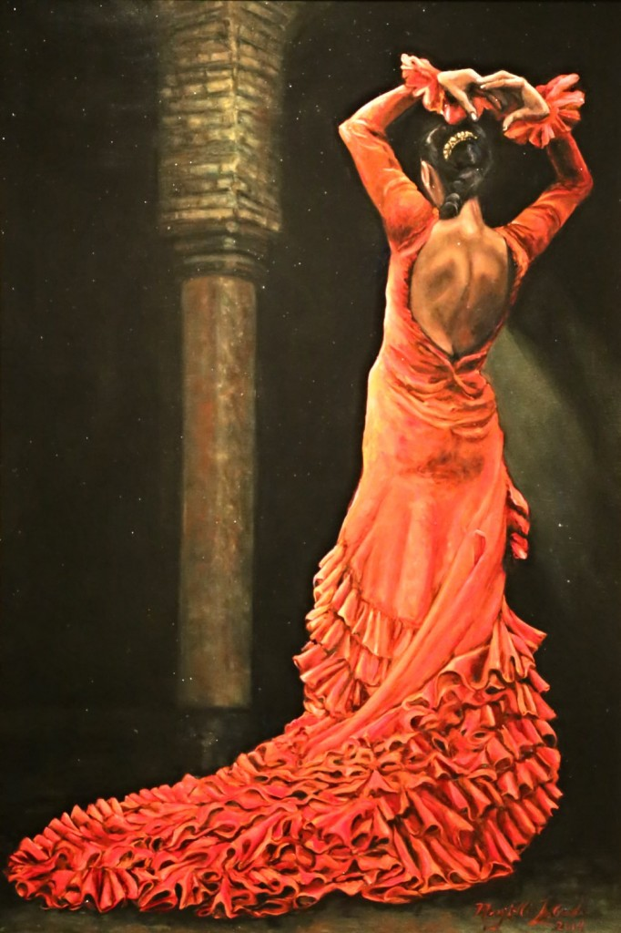 "Mary Ellis LaGarde Flamenco Dancer in Seville  Oil on Canvas  24"" x 36"""