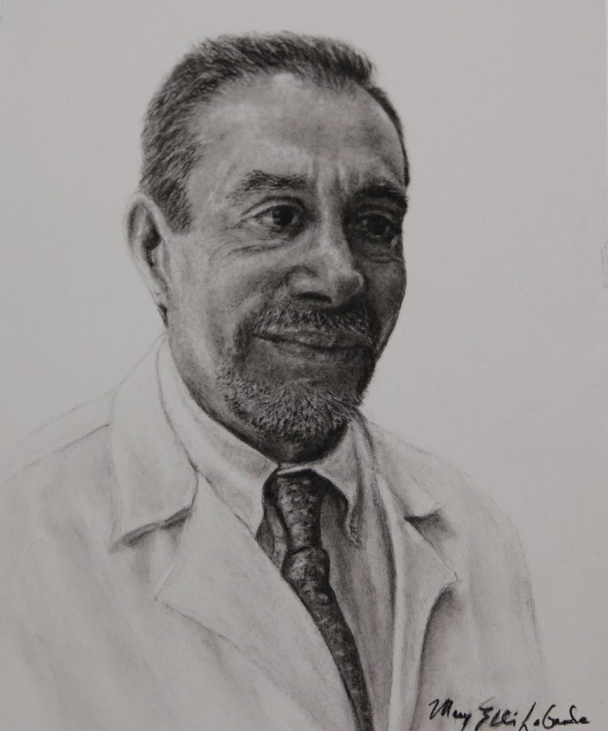 Dr. Hagop Kantarjian, charcoal and pencil on watercolor paper, by Mary Ellis LaGarde